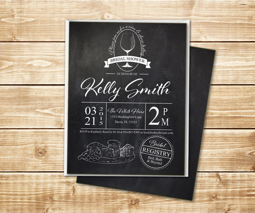 Chalkboard Wine & Cheese Bridal Shower Invitation