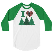 Load image into Gallery viewer, I Heart Trees 3/4 Sleeve Christmas Shirt