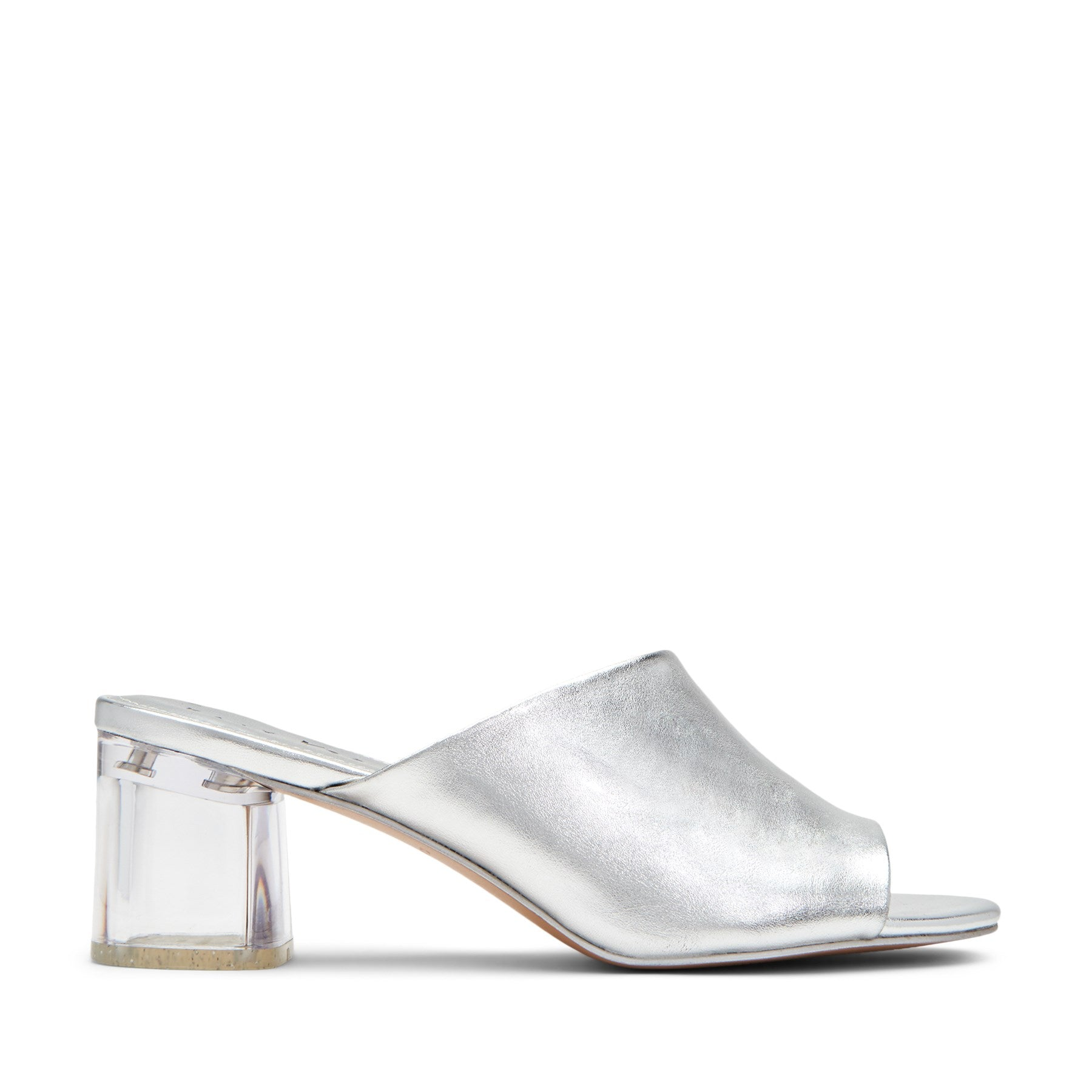 katy perry heeled mule metallic in silver size 5.5   the landen