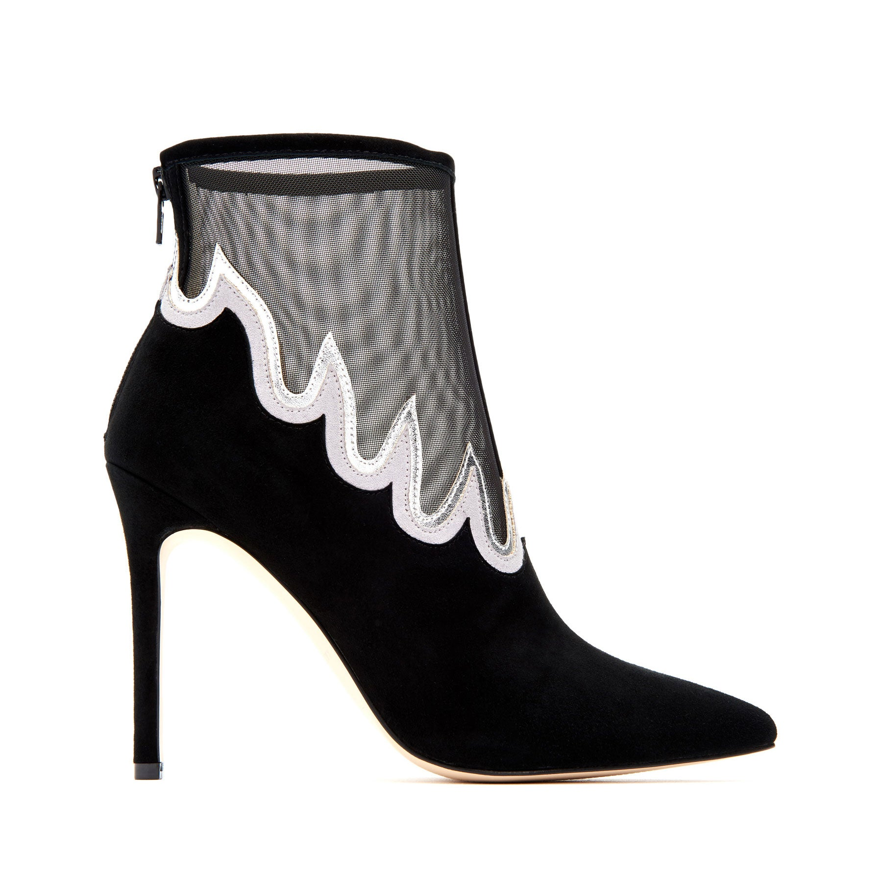 katy perry heeled boot in black/silver size 7   the libre