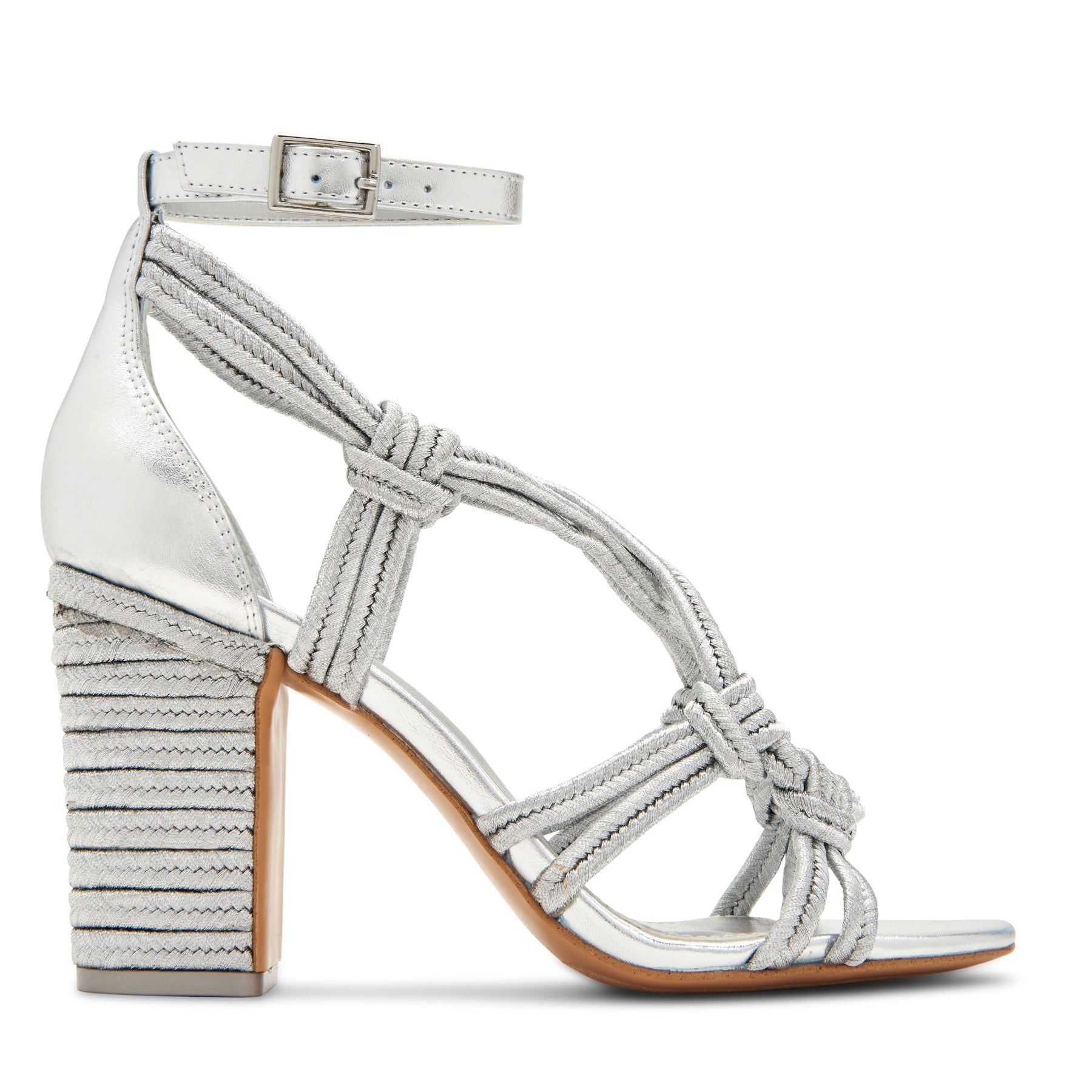 katy perry heeled sandal metallic in silver size 5.5 | the roped