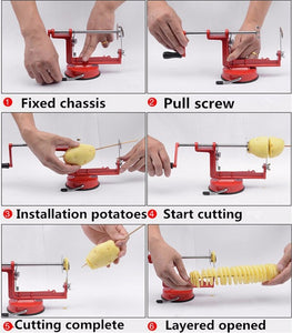 Spiral Potato Slicer Machine for Peel the Whole Potato at Once