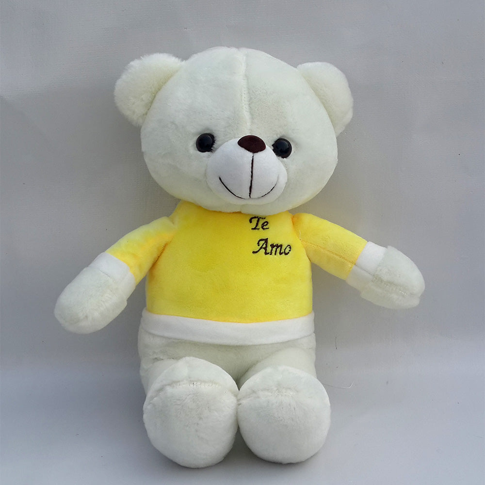 Teddy Bear Cute White With Yellow Shirt Stuffed Toy Height 14inch