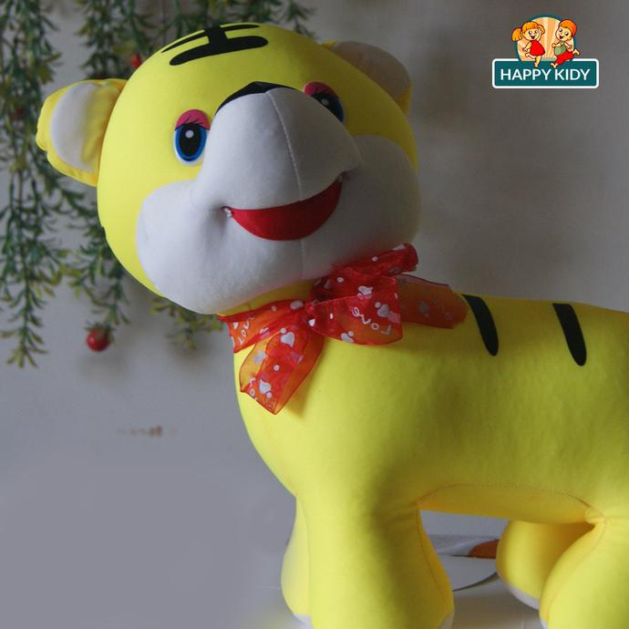 Cat with Ribbon Yellow and Orange Stuffed Toy 35cm