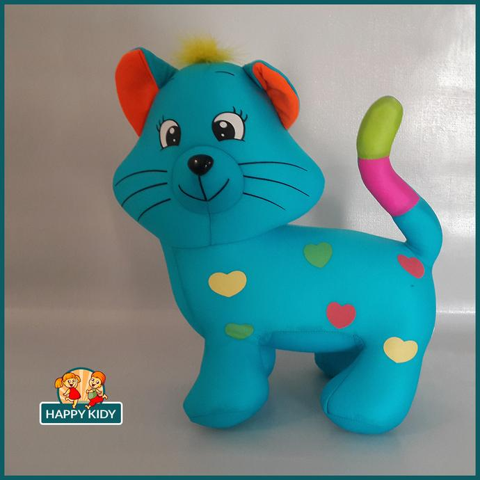 Cat with Hearts Blue Stuffed Toy 35cm/13 inch