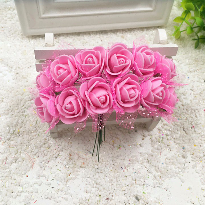 100 pieces of foam flower small rose pink 2cm