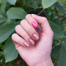 Load image into Gallery viewer, Buy Cherie Pink 🍒 Nail Polish Wraps at the lowest price in Singapore from NAILWRAP.CO. Worldwide Shipping. Instant designer nail art manicure in under 10 minutes.