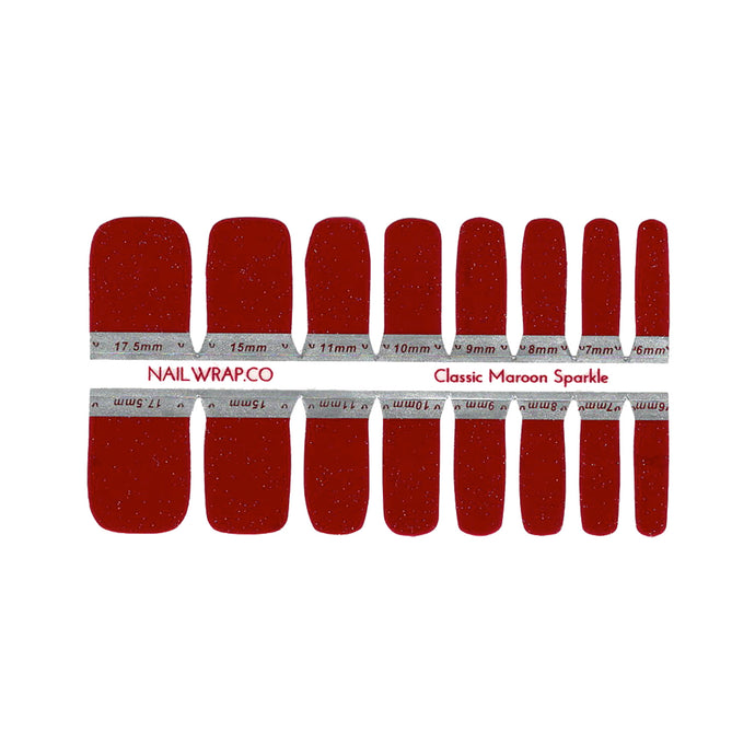 Buy Classic Maroon Sparkle (Pedicure) - Nail Wrap of the Week Nail Polish Wraps at the lowest price in Singapore from NAILWRAP.CO. Worldwide Shipping. Instant designer nail art manicure in under 10 minutes.