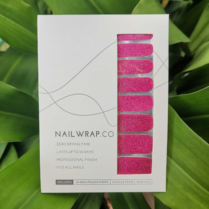 Classic Fuschia Glitter - NAILWRAP.CO Nail Wrap Co Nail Wraps Singapore Online SG Nail Stickers Nodspark Freshly Wrapped Freshlywrapped Emmezingnails Yaytonails Yay to Nails Nailedit-wraps Nailed it Gelato Factory Korea United States Australia Personail Itspersonail Nails Mailed Polishpops Cheap DIY Manicure Salon Gelish Acrylic Kids Happie Manufacturer Supplier Wholesale Customized Review