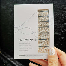 Load image into Gallery viewer, Buy Dione Gold Abstract Nail Polish Wraps at the lowest price in Singapore from NAILWRAP.CO. Worldwide Shipping. Instant designer nail art manicure in under 10 minutes.