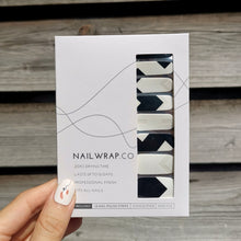 Load image into Gallery viewer, Buy Darcy Monochrome Geometric Nail Polish Wraps at the lowest price in Singapore from NAILWRAP.CO. Worldwide Shipping. Instant designer nail art manicure in under 10 minutes.