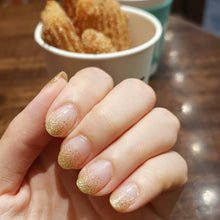 Load image into Gallery viewer, Buy Frost Gold Glitter Nail Polish Wraps at the lowest price in Singapore from NAILWRAP.CO. Worldwide Shipping. Instant designer nail art manicure in under 10 minutes.
