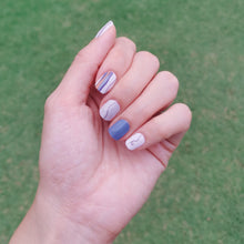 Load image into Gallery viewer, Buy Legend Blue Lines Nail Polish Wraps at the lowest price in Singapore from NAILWRAP.CO. Worldwide Shipping. Instant designer nail art manicure in under 10 minutes.