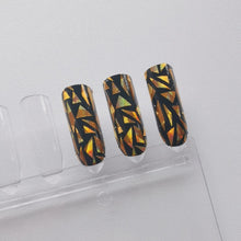Load image into Gallery viewer, Buy Enya Gold Fragment Nail Polish Wraps at the lowest price in Singapore from NAILWRAP.CO. Worldwide Shipping. Instant designer nail art manicure in under 10 minutes.
