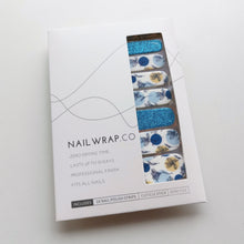 Load image into Gallery viewer, Buy Blue Petals Nail Polish Wraps at the lowest price in Singapore from NAILWRAP.CO. Worldwide Shipping. Instant designer nail art manicure in under 10 minutes.