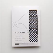 Load image into Gallery viewer, Buy Black Gingham Nail Polish Wraps at the lowest price in Singapore from NAILWRAP.CO. Worldwide Shipping. Instant designer nail art manicure in under 10 minutes.