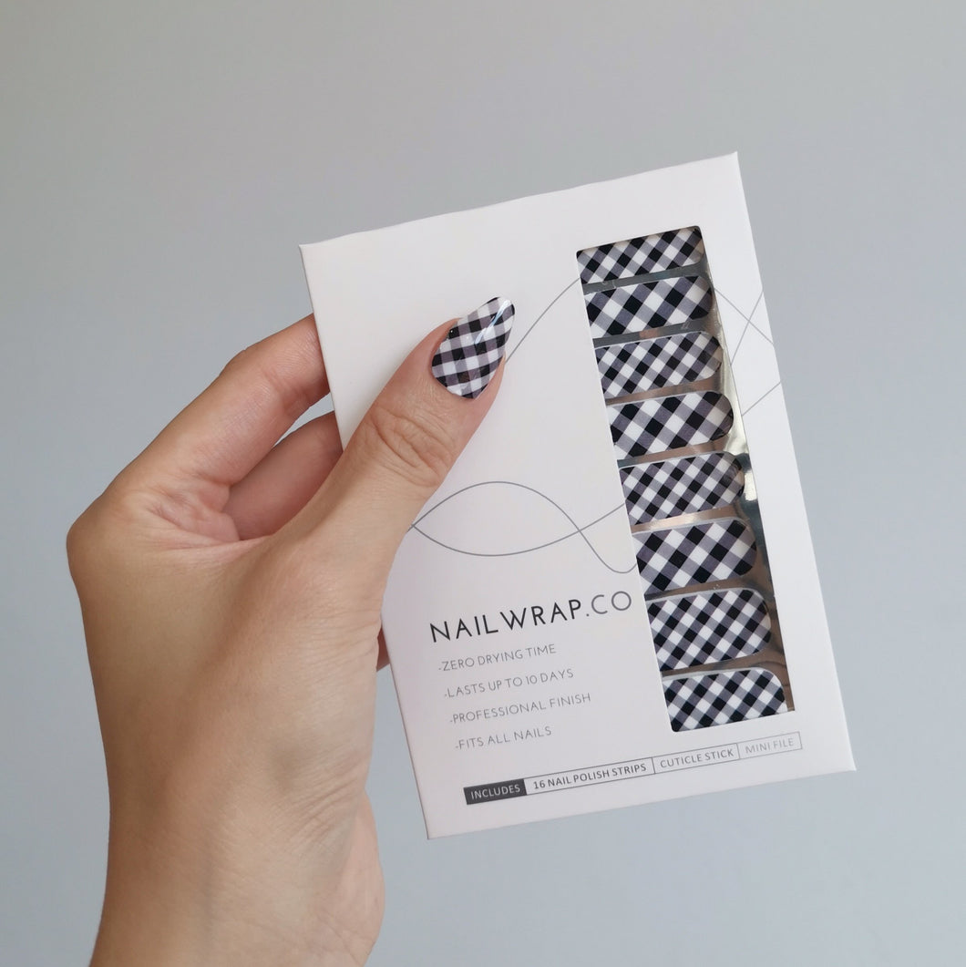 Buy Black Gingham Nail Polish Wraps at the lowest price in Singapore from NAILWRAP.CO. Worldwide Shipping. Instant designer nail art manicure in under 10 minutes.