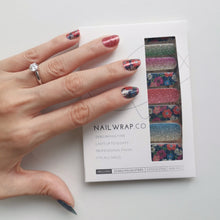 Load image into Gallery viewer, Buy Glitter Meadow Nail Polish Wraps at the lowest price in Singapore from NAILWRAP.CO. Worldwide Shipping. Instant designer nail art manicure in under 10 minutes.