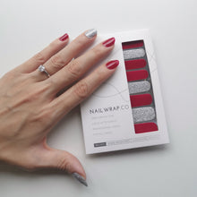 Load image into Gallery viewer, Buy Crimson Glitz Nail Polish Wraps at the lowest price in Singapore from NAILWRAP.CO. Worldwide Shipping. Instant designer nail art manicure in under 10 minutes.