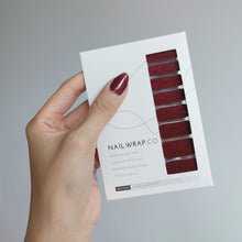 Load image into Gallery viewer, Buy Classic Maroon (Glitter) Nail Polish Wraps at the lowest price in Singapore from NAILWRAP.CO. Worldwide Shipping. Instant designer nail art manicure in under 10 minutes.