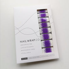 Load image into Gallery viewer, Buy Frost Purple Glitter Nail Polish Wraps at the lowest price in Singapore from NAILWRAP.CO. Worldwide Shipping. Instant designer nail art manicure in under 10 minutes.