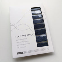 Load image into Gallery viewer, Buy Navy Blue (Glitter) Nail Polish Wraps at the lowest price in Singapore from NAILWRAP.CO. Worldwide Shipping. Instant designer nail art manicure in under 10 minutes.