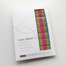 Load image into Gallery viewer, Buy Rainbow Glitter Nail Polish Wraps at the lowest price in Singapore from NAILWRAP.CO. Worldwide Shipping. Instant designer nail art manicure in under 10 minutes.