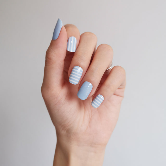 Buy Baby Blue Stripes Nail Polish Wraps at the lowest price in Singapore from NAILWRAP.CO. Worldwide Shipping. Instant designer nail art manicure in under 10 minutes.