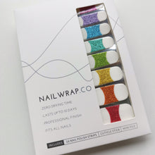 Load image into Gallery viewer, Buy Rainbow Glitter French Nail Polish Wraps at the lowest price in Singapore from NAILWRAP.CO. Worldwide Shipping. Instant designer nail art manicure in under 10 minutes.