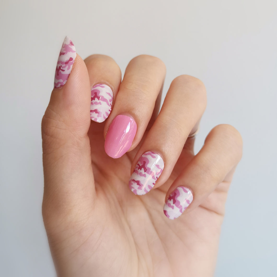 Buy Camo Pink Nail Polish Wraps at the lowest price in Singapore from NAILWRAP.CO. Worldwide Shipping. Instant designer nail art manicure in under 10 minutes.