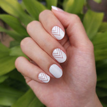 Load image into Gallery viewer, Buy Nadeleine White Nail Wraps at the lowest price in Singapore. We Ship Worldwide. Over 300 designs! Instant designer nail art under 10 minutes