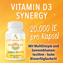 Laden Sie das Bild in den Galerie-Viewer, Vitamin D3 Synergy - 20.000IE
