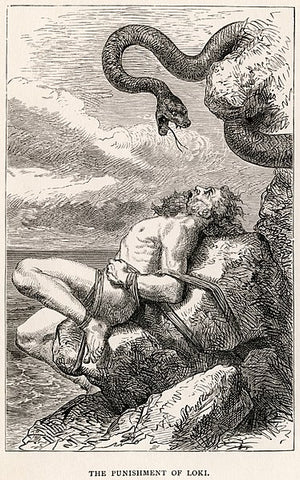"Loki bound to a rock, a serpent above him: ""The Punishment of Loki"" by Louis Huard, 1891--The Viking Dragon"
