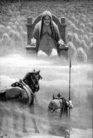 "Hel on her throne before the shades of the dead, Hermod and his horse in front of her: ""Hermod before Hela"" by John Charles Dollman, 1909--Viking Dragon Blogs"