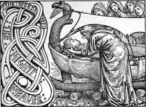 "Odin bending over the ship where his dead son lies: ""Odin's last words"" by W.G. Collingwood, 1908--Viking Dragon Blogs"