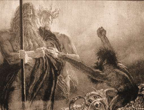 "The dwarf Andvari standing on a pile of treasure, arms outflung, raging at the gods Odin and Loki: ""Odin, Loki et Andvari"" by F. von Stassen --Viking Dragon Blogs"