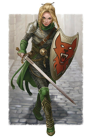 "Armored woman with sword drawn on old city street--Picture from ""Women in Practical Armor,"" https://boingboing.net/2011/08/29/women-fighters-in-reasonable-armor.html--Viking Dragon Blogs"