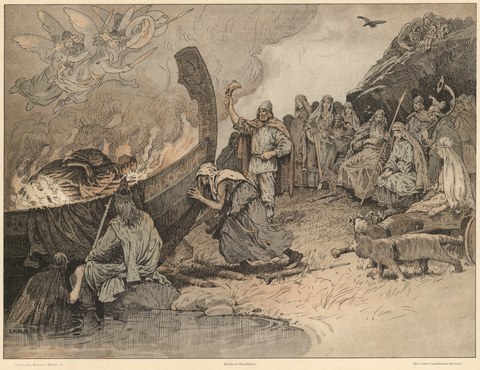 "Balder's pyre burning, grieving gods on the shore, Valkyries in the air above: ""Balders Bålfærd""—Funeral pyre of Balder by Louis Moe, 1898--Viking Dragon Blogs"