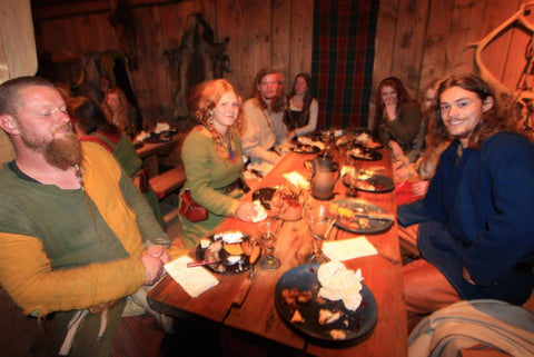 Feasting in the longhouse at Lofotr Viking Festival