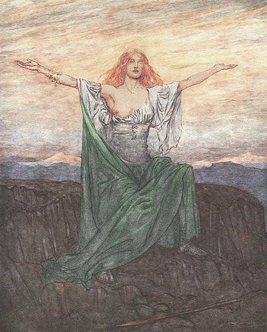 Brunhild praises the light: 1911 illustration by Arthur Rackham, https://commons.wikimedia.org/wiki/File:Ring48.jpg--Viking Dragon Blogs