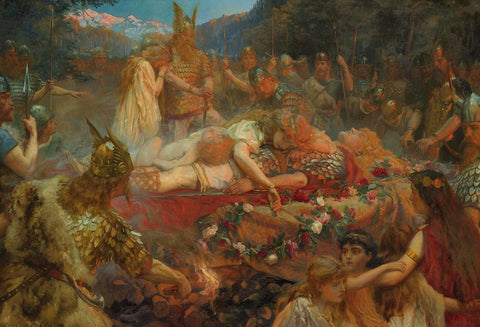 """Sigurd and Brunhild's Funeral Pyre"" by Charles E Butler, 1909, retrieved from https://i.pinimg.com/originals/b9/f2/39/b9f2395f1bc9760d1b3b9c7ca0156723.jpg--Viking Dragon Blogs"