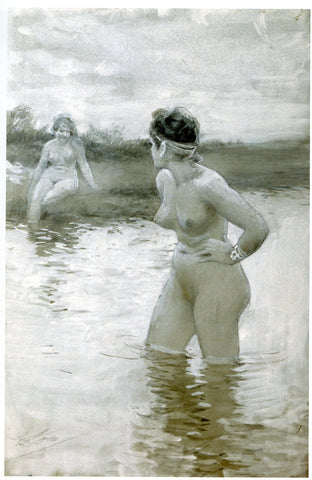 Brynhild and Gudrun quarrel while bathing in the stream: retrieved from https://upload.wikimedia.org/wikipedia/commons/6/6c/Brynhild_och_Gudrun_by_Anders_Zorn.jpg--Viking Dragon Blogs