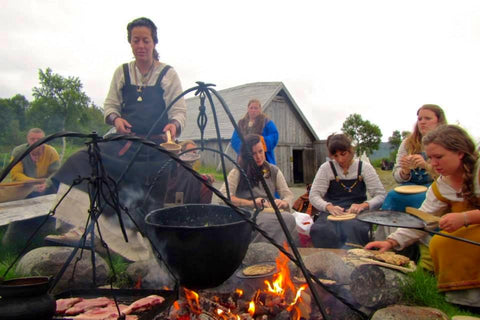 Evening cooking fire at Lofotr Viking Festival