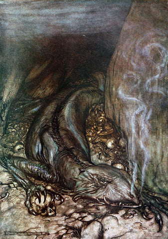 Fafnir in a crevice between rocks, crouched over gold and human bones, breathing smoke; 1911 illustration by Arthur Rackham, retrieved from Wikipedia (https://en.wikipedia.org/wiki/Fafnir#/media/File:Siegfried_and_the_Twilight_of_the_Gods_p_022.jpg)--Viking Dragon Blogs