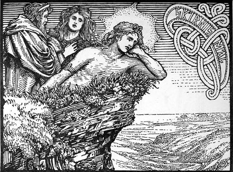 """Frey lying mournfully on the seashore, his worried parents standing over him: """"The Lovesickness of Frey"""" by W.G. Collingwood, 1908,retrieved from https://en.wikipedia.org/wiki/Freyr#/media/File:The_Lovesickness_of_Frey.jpg--Viking Dragon Blogs"""
