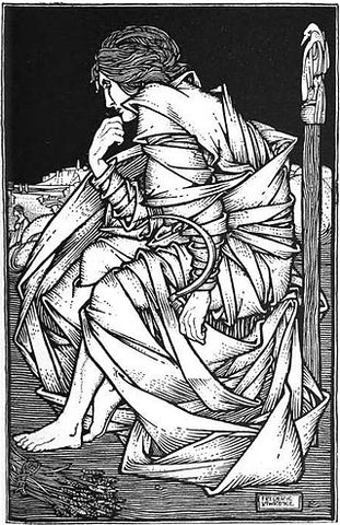 Frey sitting on Hlithskjalf, pensive; illustration by Frederic Lawrence, 1908, from https://en.wikipedia.org/wiki/Freyr#/media/File:Frey_had_seated_himself_on_the_throne_of_Odin.jpg --Viking Dragon Blogs