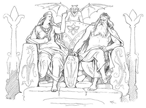 Frigga and Odin seated in Asgard, making a wager: 1895 illustration by Lorenz Frølich--The Viking Dragon