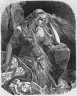 Gudrun with her hair unbound, looking intent. Retrieved from https://upload.wikimedia.org/wikipedia/commons/thumb/b/b2/Gudrun_am_Meer.jpg/260px-Gudrun_am_Meer.jpg--Viking Dragon Blogs
