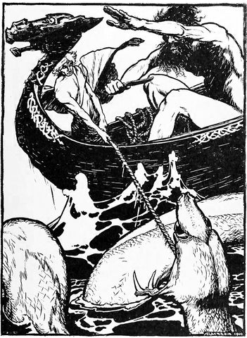 Hymir rushing to cut Thor's fishing line; 1901 illustration by Arthur Rackham, retrieved from https://fi.wikipedia.org/wiki/Hymir#/media/Tiedosto:Hymir_rushed_forward_and_cut_through_the_line.jpg -- Viking Dragon Blogs