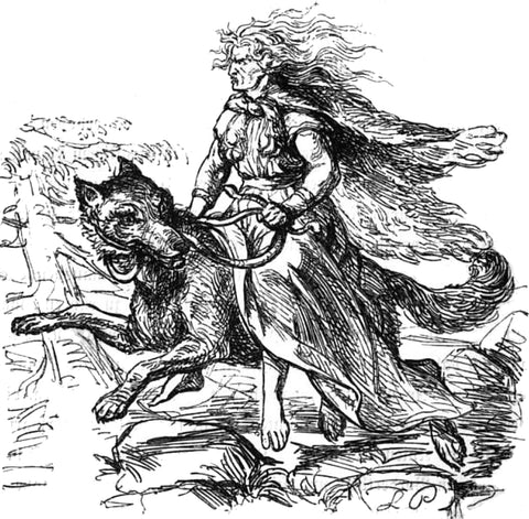 Drawing of the giantess Hyrrokkin on her snake-bridled wolf, by Ludwig Pietsch, 1865 --Viking Dragon Blogs